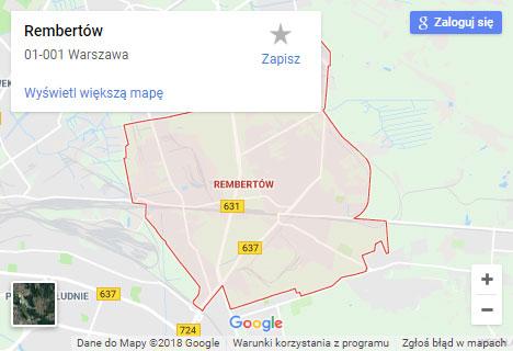 Mapa Google hydraulik Warszawa Rembertów